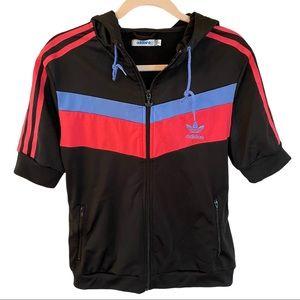 Adidas short sleeve hooded track jacket Sz L